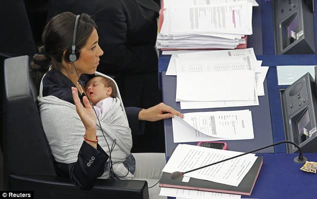 Licia Ronzulli - EU parliament member with baby