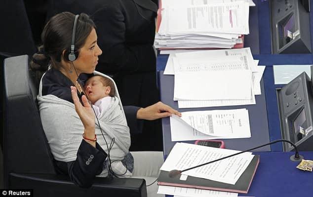 Licia Ronzulli - EU parliament member with baby