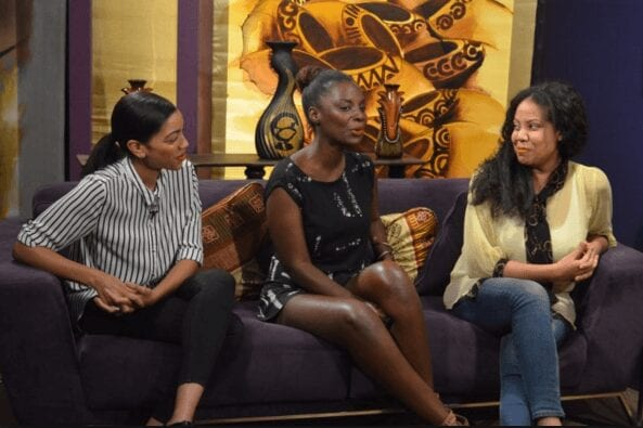 Writer, Producer, and Director Nicole Amarteifio with An African City stars Maame Adjei and Marie Humbert