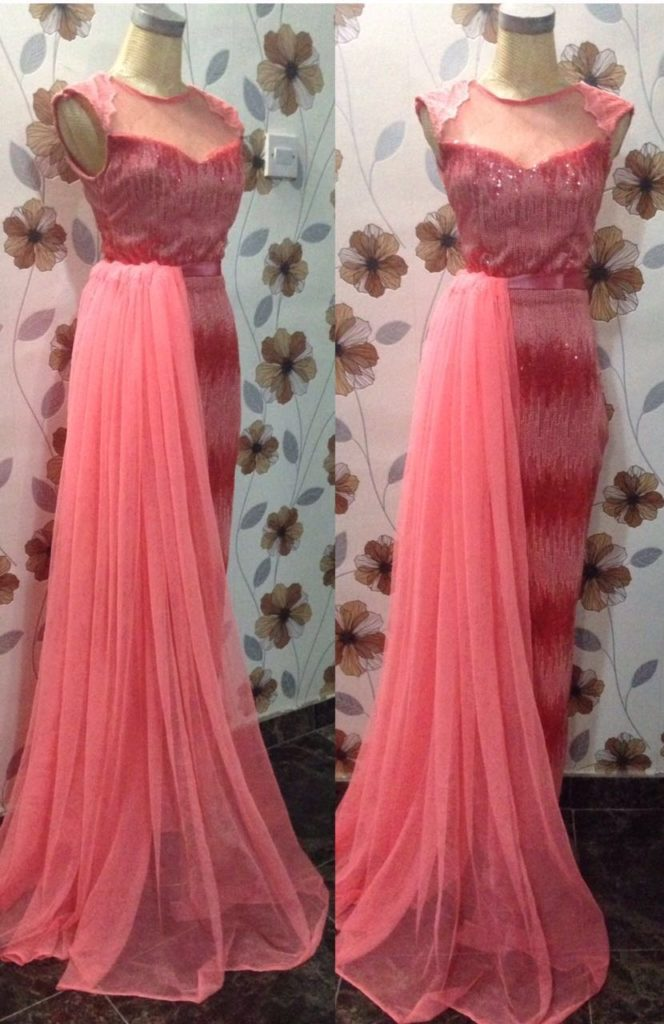A tulle waist draped sequin illusion dress made by Esmadelle