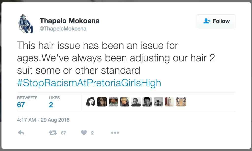 thapelo mokoena #stopracismatpretoriagirlshigh