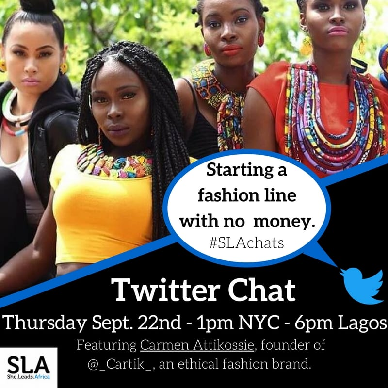 twitter chat no money with Carmen Attikossie of Cartik