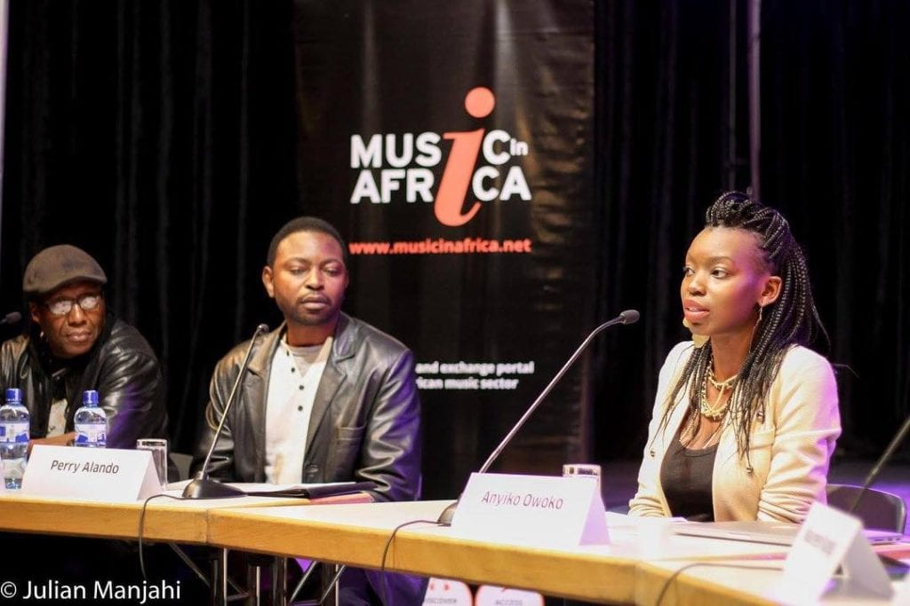 Anyiko speaking on a panel discussing the proposed Kenya National Music Policy. Photo Credit: Julian Manjahi