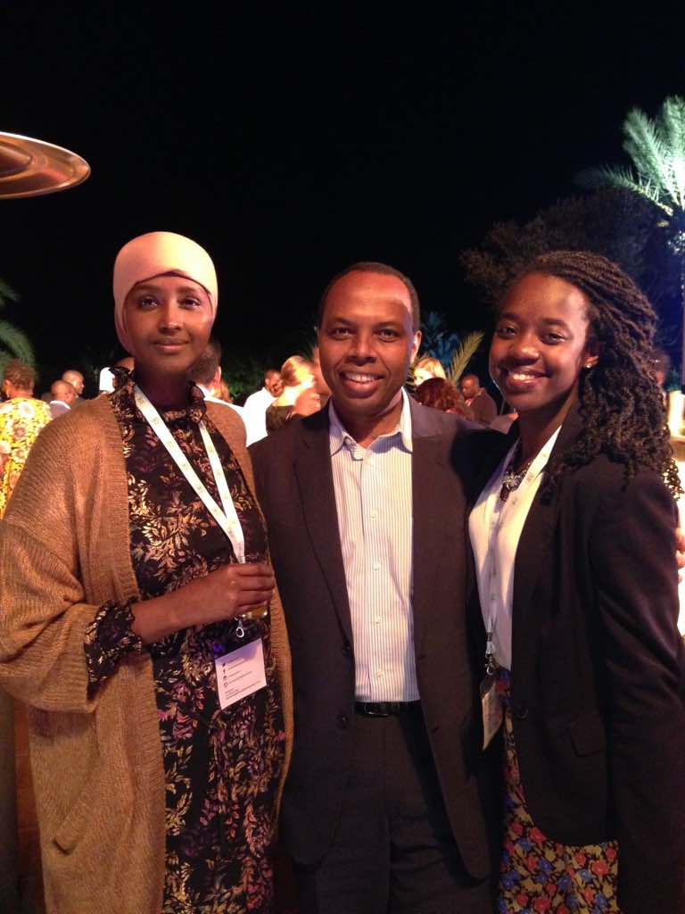 Amandla (right) with friends, Fadumo Dayib (left - Former presidential candidate of Somalia) and Francis Gatare (middle - CEO of Rwandan Development Bank)