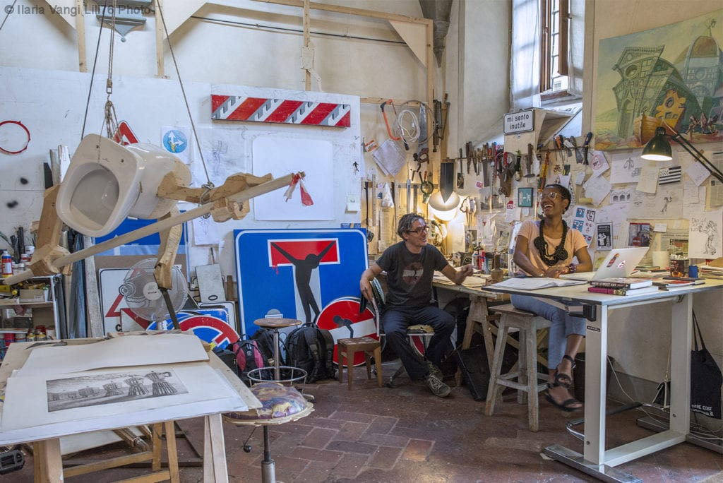 Clet and Janine in Studio, Florence, by Ilaria Vangi